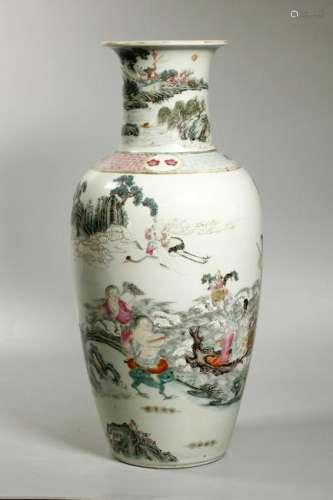 Large Chinese Qing Daoist Paradise Porcelain Vase