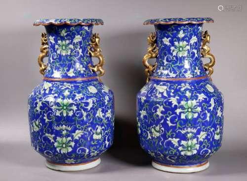 Pair Chinese 19 C Blue Enameled Porcelain Vases