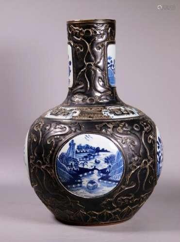 Chinese 19 C Blue & White & Black Porcelain Vase