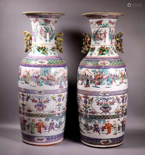 Pr Large Chinese Enameled Porcelain Vases