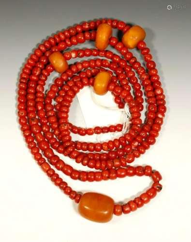 Tibetan Coral & Butterscotch Amber Beads; 110.9G