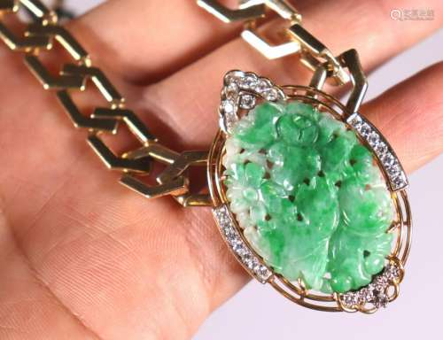 Chinese Natural Green Jadeite & 14K Necklace; 84G
