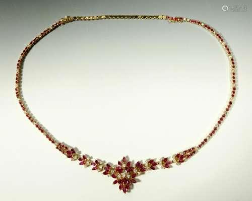 Adjustable Ruby & Diamond 14K Necklace