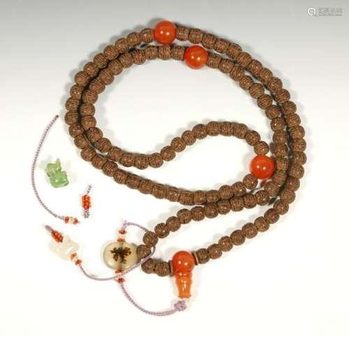 Chinese Chenxiangmu Carnelian Bead Rosary
