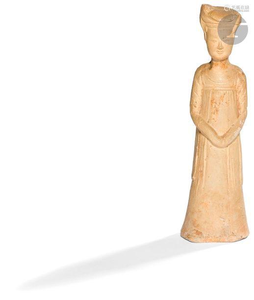 CHINE Époque SUI (581 618) Statuette en terre cuit…