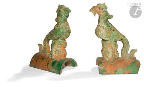 CHINE époque MING (1368 1644) Paire de tuiles faît…