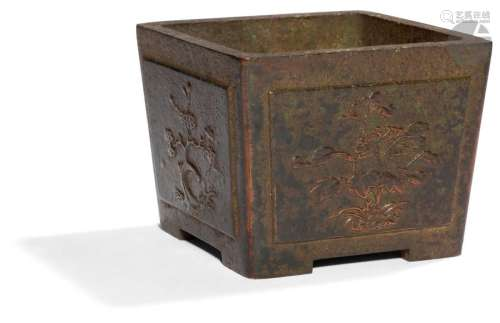 CHINE XVIIe siècle Cache pot quadripode en bronze …