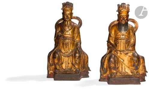 CHINE XIXe siècle Deux statuettes de dignitaires e…