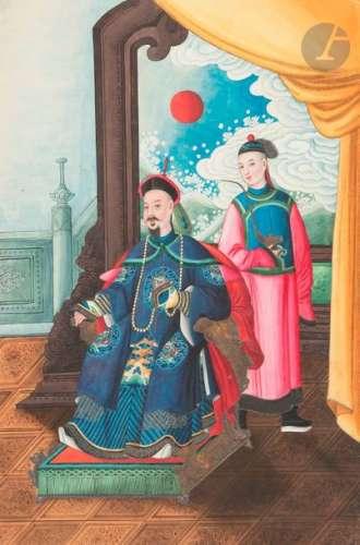 CHINE, Canton Vers 1900 Album de dix peintures, en…