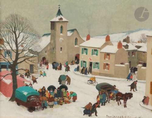 Paul LEMASSON (1897 1971) Le Marché sous la neige …