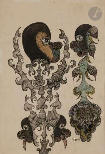 Scottie WILSON (1905 1972) Composition Encre et aq…