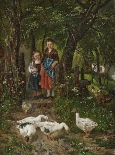 Johann Sperl, 1840 Buch near Fürth - 1914 Bad AiblingThe Goose Girl Accompanied by a girl with a