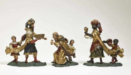 Three MagiSouth German, 18th Century Fruitwood, carved in full round. Retouched polychrome painting,