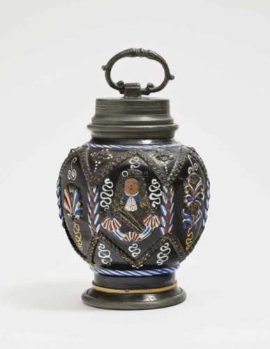 A ''Schraubkruke''Annaberg, circa 1670/1680 Stoneware, decorated with colourful enamels and gilding.