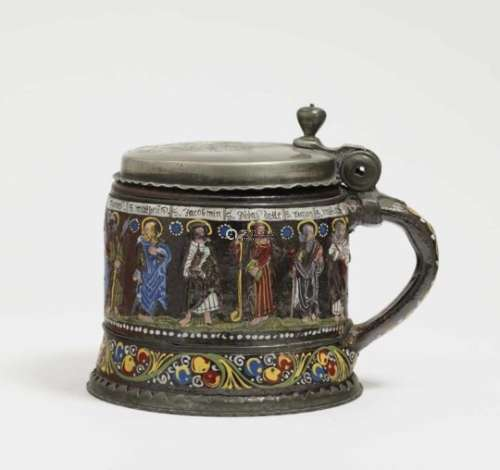 A Tankard ''Apostelkrug''Creussen, dated 1674 Salt-glazed stoneware, decorated with colourful enamel
