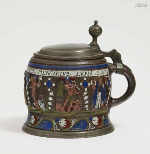 A Tankard ''Planetenkrug''Creussen, dated 1687 Salt-glazed stoneware decorated with colourful enamel