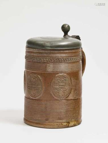 A TankardRaeren or Duingen, early 18th Century Salt-glazed stoneware, with slip. Pewter cover