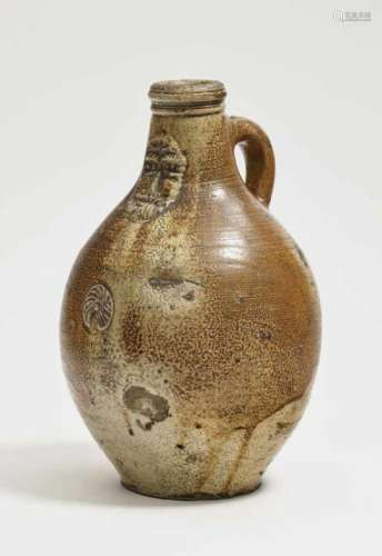 A Bellarmine jugRhineland (Frechen), probably 18th Century Stoneware. Speckled salt glaze. Height 30
