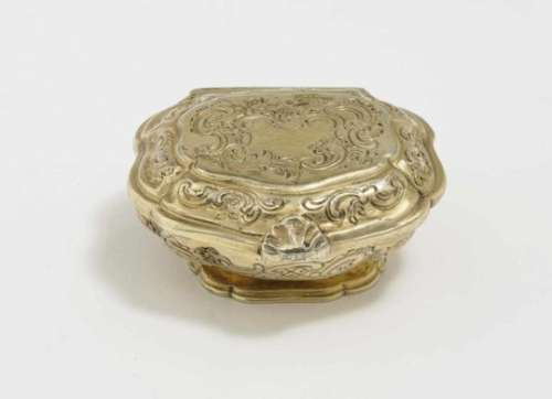 A Spice BoxMid-18th Century, master L. H (?) Silver, gold-plated. Engraved decoration. Hallmarked (