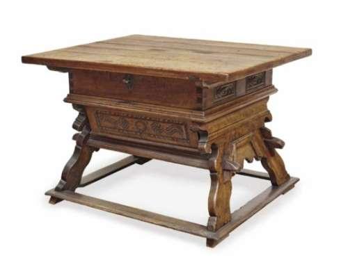 A Trestle TableAlpine, 18th/19th Century Oak and beech, glazed in brown. Restored, age appropriate