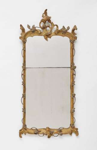 A MirrorSouth German, 18th Century Carved giltwood and metal (?). Restored, additions, slightly