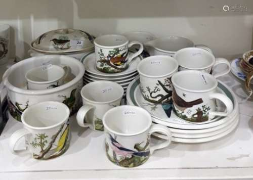 Quantity of Portmeirion pottery tableware in various patterns including birds and flowers viz;