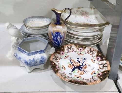 Limoges porcelain dessert service of 9 pieces, 19th century porcelain low tazza with Japan pattern