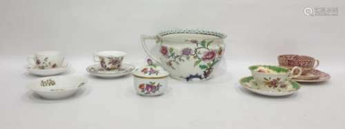 Coronaware chamber pot, floral decorated, Hilditch-style late Georgian china teacup and saucer,