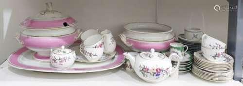 Wedgwood porcelain part tea service 'Devon Sprays' pattern, Victorian earthenware soup tureen and