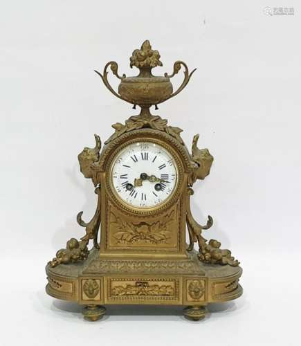 French eight-day striking mantel clock by Japy Freres, in ormolu case surmounted by urn, Roman