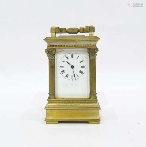 French brass carriage clockwith Roman numerals to the enamel dial, marked 'Janetti Padre &