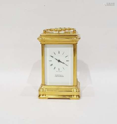Martin & Co of Cheltenham 20th century carriage clock with Roman numerals to the dial, white metal