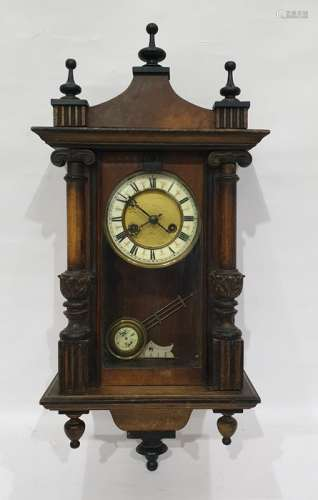 19th century wall clock with Roman numerals to the enamel chapter ring