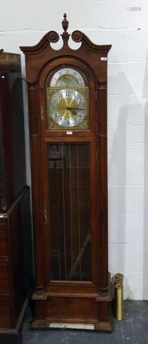 Modern chiming longcase clock with moonphase movement, Arabic numerals to the brass dial and steel