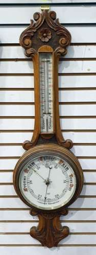 Oak cased aneroid barometer/thermometer marked 'Sidric'