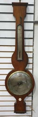 Banjo type barometermarked 'Pring Reading' with thermometer gauge