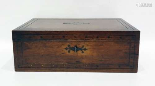 19th century brass inlaid writing slope, 41cm x 14.5cm