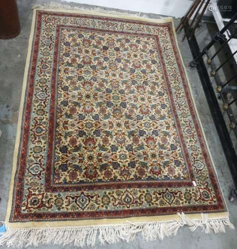Eastern rug, cream ground with all over Herati pattern foliate decoration on a three margin border,