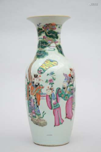 Vase in Chinese famille rose porcelain 'immortals' (58cm)