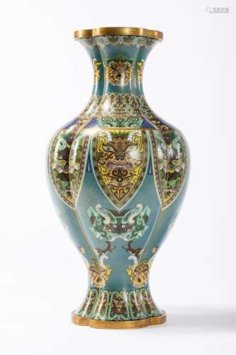 A vase in Chinese cloisonnÈ 'taotie' (52cm)