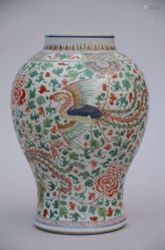 A vase in Chinese Wucai porcelain 'Phoenixes' (*) (37cm)