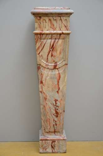 A rectangular column in marble (*) (37x40x108cm)