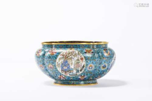 A lobed jardiniËre in cloisonnÈ, Qing dynasty (23x30x16cm)
