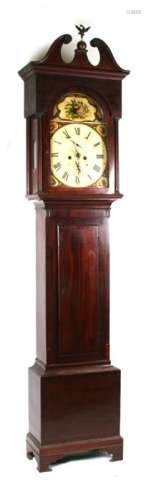 A 19th century mahogany cased longcase clock with 8-day movement, the arched painted dial with Roman