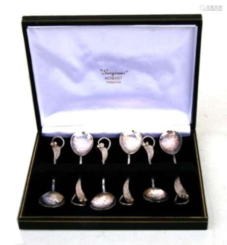 A set of six Australian silver Arts & Crafts style teaspoons by Sargison's, Hobart, Tasmania,