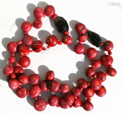 A large coral and crystal bead necklace, approx total length 97cms (38ins).