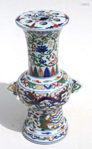 A Chinese Ducai style vase decorated with dragons, phoenix and foliage, 32cms (12.5ins) high.