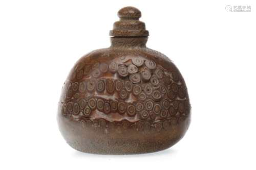 A CHINESE WOOD SNUFF BOTTLE