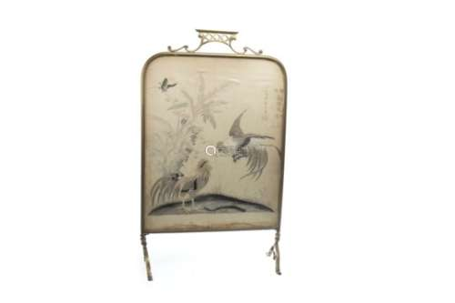 A 20TH CENTURY EMBROIDERED FIRE SCREEN