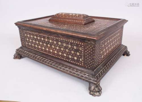 A GOOD ISLAMIC SPANISH BONE INLAID BOX, POSSIBLY 16TH CENTURY, with 18th Century feet, 43cm long,